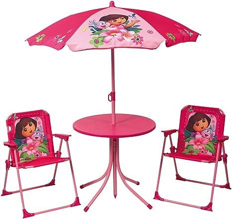 Fun House - Muebles de jardín (Incluye: 1 Mesa Redonda, 2 sillas y ...