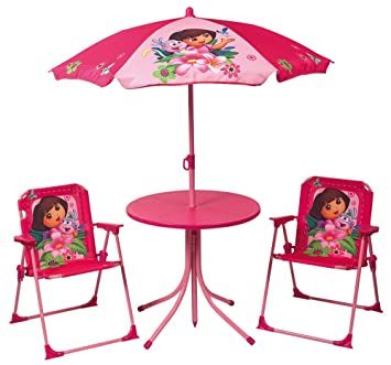 Fun House - Muebles de jardín (Incluye: 1 Mesa Redonda, 2 sillas y 1 ...