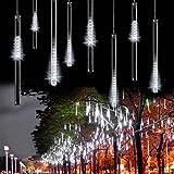 Minger 30 CM 8 tubi Bercy doccia pioggia luci 144 LED stringa esterna impermeabile per Natale matrimonio partito albero decorativo, decorazione di alberi lungo le strade (Bianco)