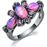CiNily Pink Fire Opal Women Jewelry Gemstone Black Gold Filled Ring Size 5-12