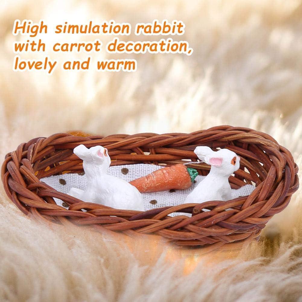 1//12 Lapin Lapin Nid Carotte Miniatures Dollhouse Décoration
