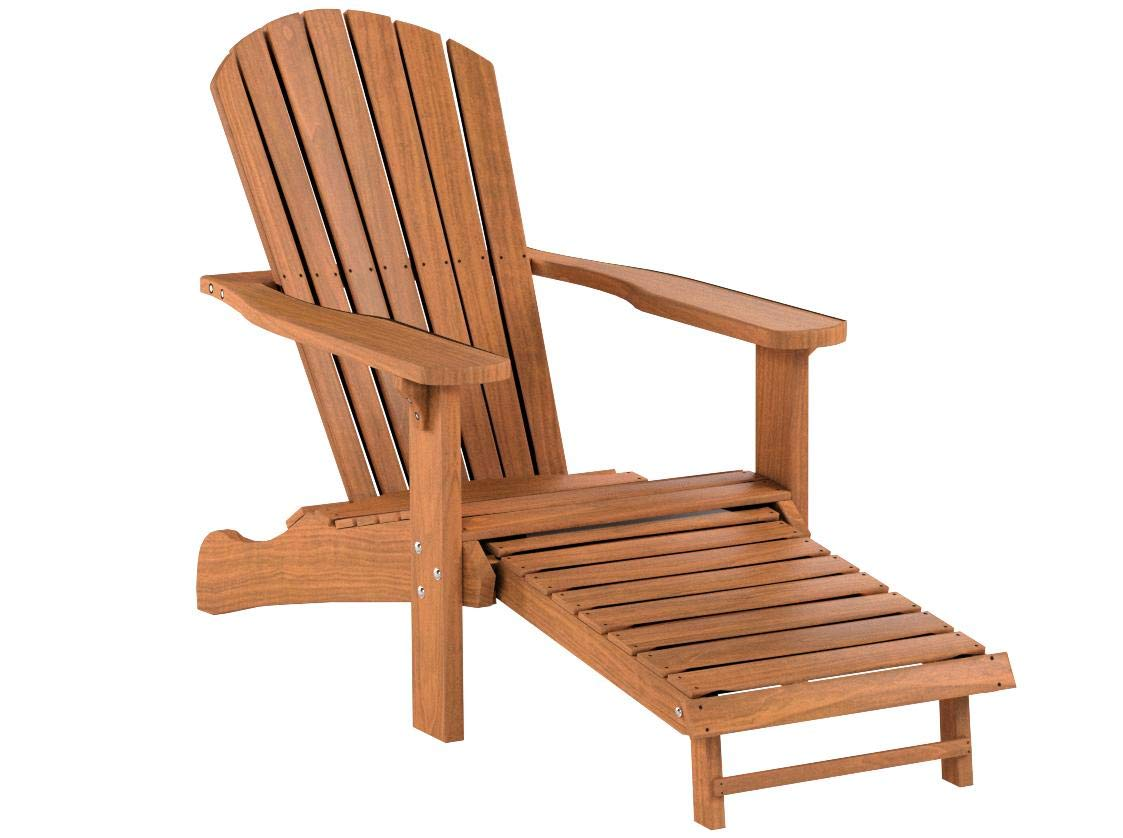 Outdoor Interiors CD3111 Eucalyptus Adirondack Chair and Built In Ottoman by Outdoor Interiors (Image #9)