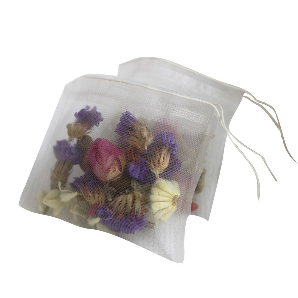 Lucklovely Empty Heat Sealing Nylon Pyramid Tea Filter Bags with String for Loose Tea 2.63''2.76'' 500Pcs by Lucklovely