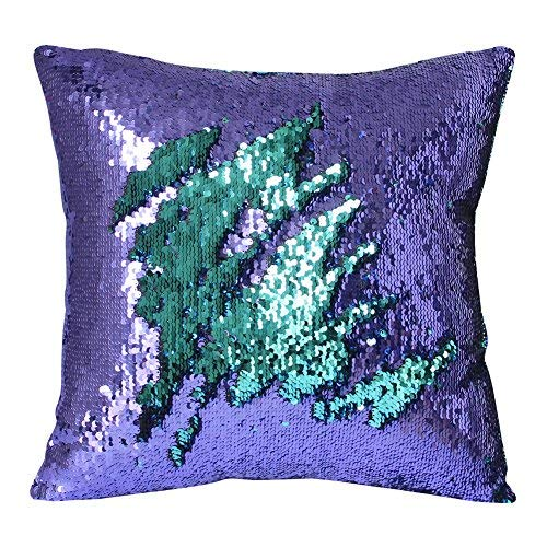 Play Tailor Mermaid Sequin Pillow Case Magic Reversible Sequin Pillow Cover Throw Cushion Case 16x16(Teal-Light Purple)