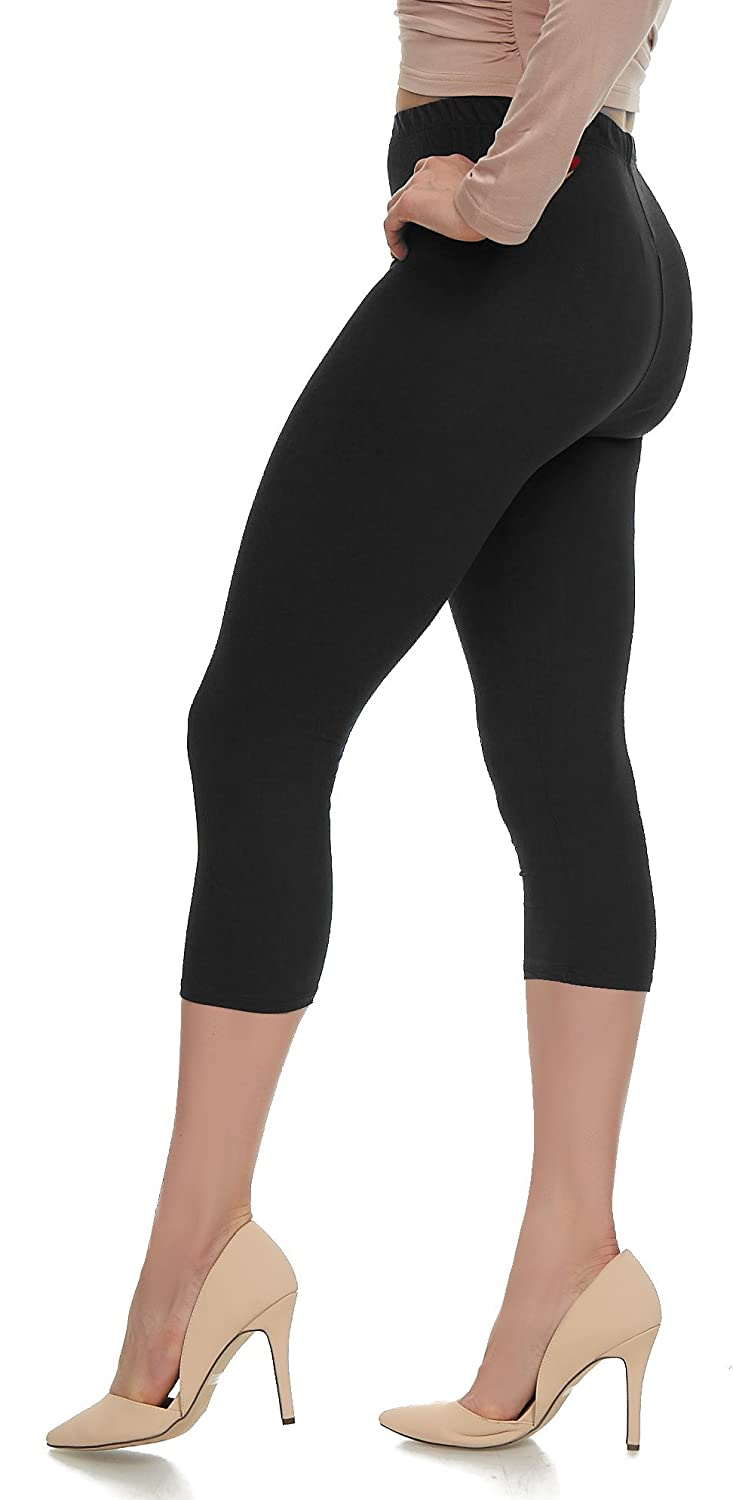 0501bf8913f57 Extra Soft Capri Leggings with High Wast - 20 Colors - Plus at Amazon Women's  Clothing store: