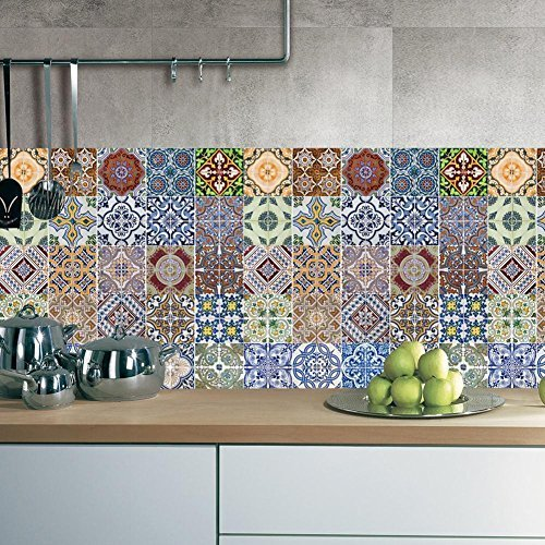 FLFK 48 Units Mexican Talavera Peel & Stick Vinyl Adhesive Tile Stickers for Kitchen and Bathroom Backsplash Decal 7.87x7.87 Inch (20x20cm) by FLFK (Image #2)