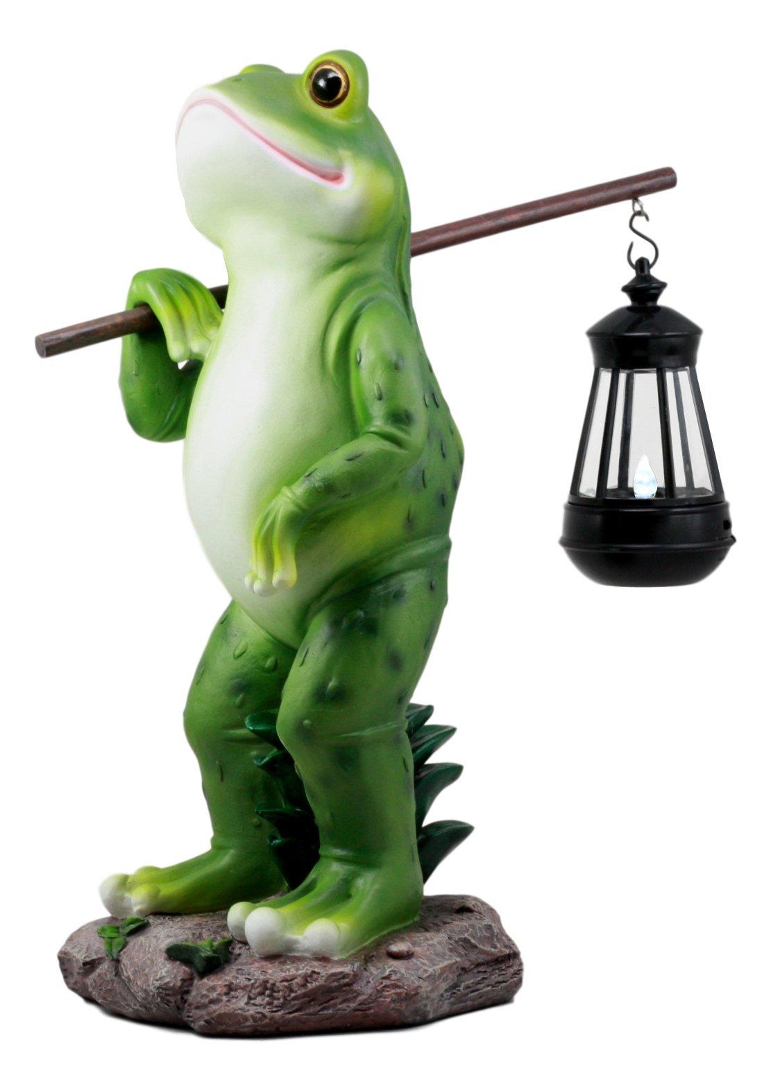 Ebros Blue Bayou Trails Hiking Frog Statue Holding Rod With Solar Powered Lantern LED Light Home Patio Decor Figurine