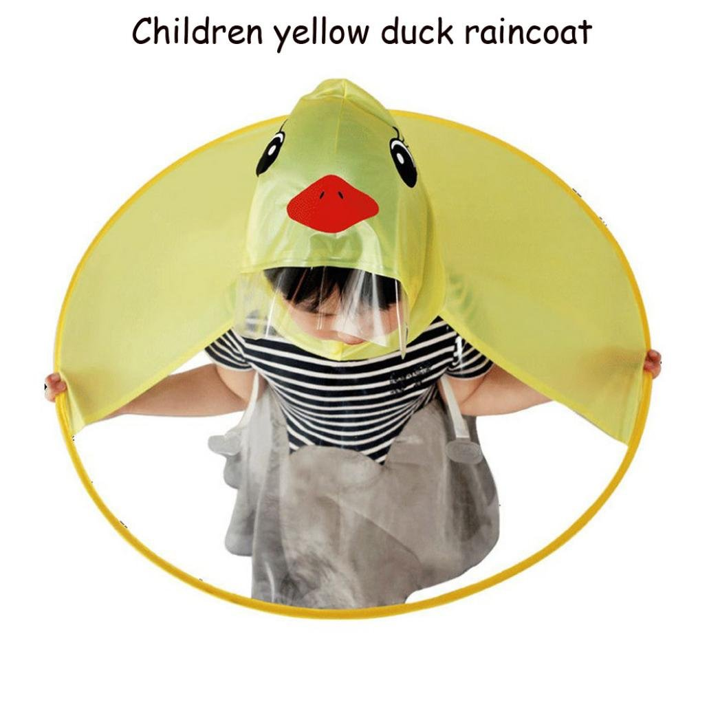 XILALU Kids UFO Raincoat Windproof /& Waterproof Foldable Cute Transparent Cartoon Duck Hands Free Umbrella Hat Funny Rain Coat-Scratch Resist Yellow, Child S