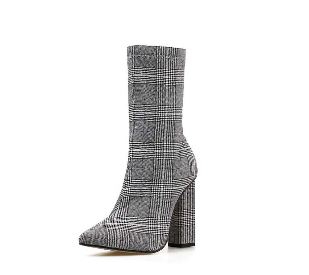 HYLFF Frauen Ankle Stiefel Leder Pointed Stiefel Round Chunky Block Heel Stiefel Winter Stiefel Flat Stiefel Short Stiefel Ladies Chelsea Stiefel