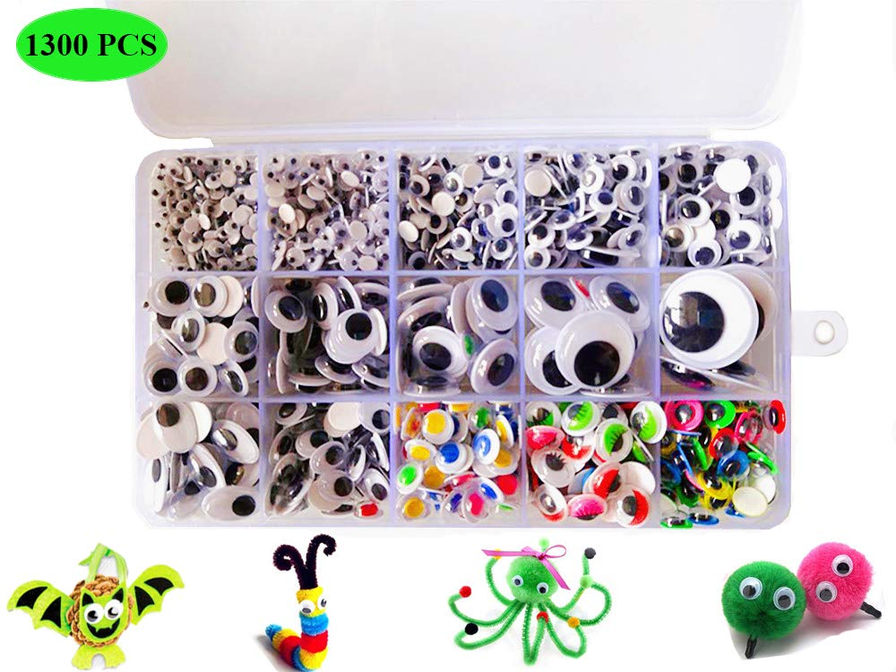 1300Pcs Wiggle Eyes Assorted Sizes, Multicolors Googly Eyes with Self-Adhesive for DIY Scrapbooking Craft Supplies//Toy Accessories with Storage Box by BellaBetty