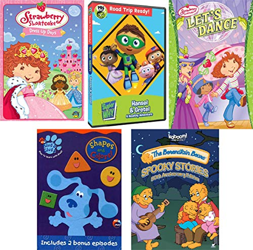 Super Duper Toddler Mega Pack: Blue's Clues Shapes + Colors/ The Berenstain Bears Spooky Stories/ Strawberry Short Cake Let's Dance + Dress Up Days/ Super Why Hanzel & Gretel + One Story 5 DVD Bundle