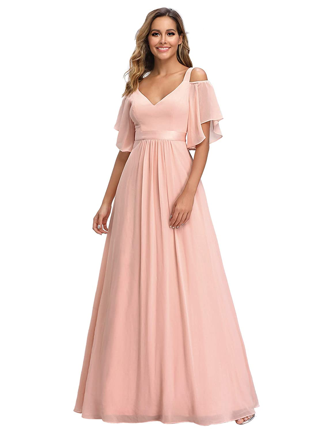 70s Prom, Formal, Evening, Party Dresses Ever-Pretty Womens A-Line Cold Shoulder Bridesmaid Dress Evening Gowns 7871 $54.99 AT vintagedancer.com