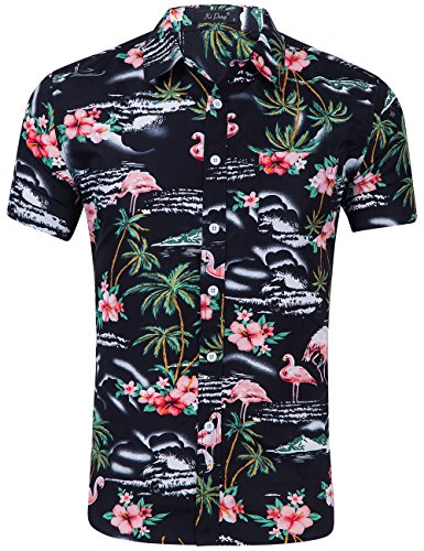 (XI PENG Men's Tropical Short Sleeve Floral Print Beach Aloha Hawaiian Shirt (Pink Flamingo Hibiscus Black, Medium))
