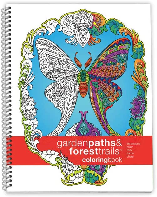 Action Publishing Coloring Book: Garden Paths & Forest Trails Large Sidebound (8.5 x 11 inches)