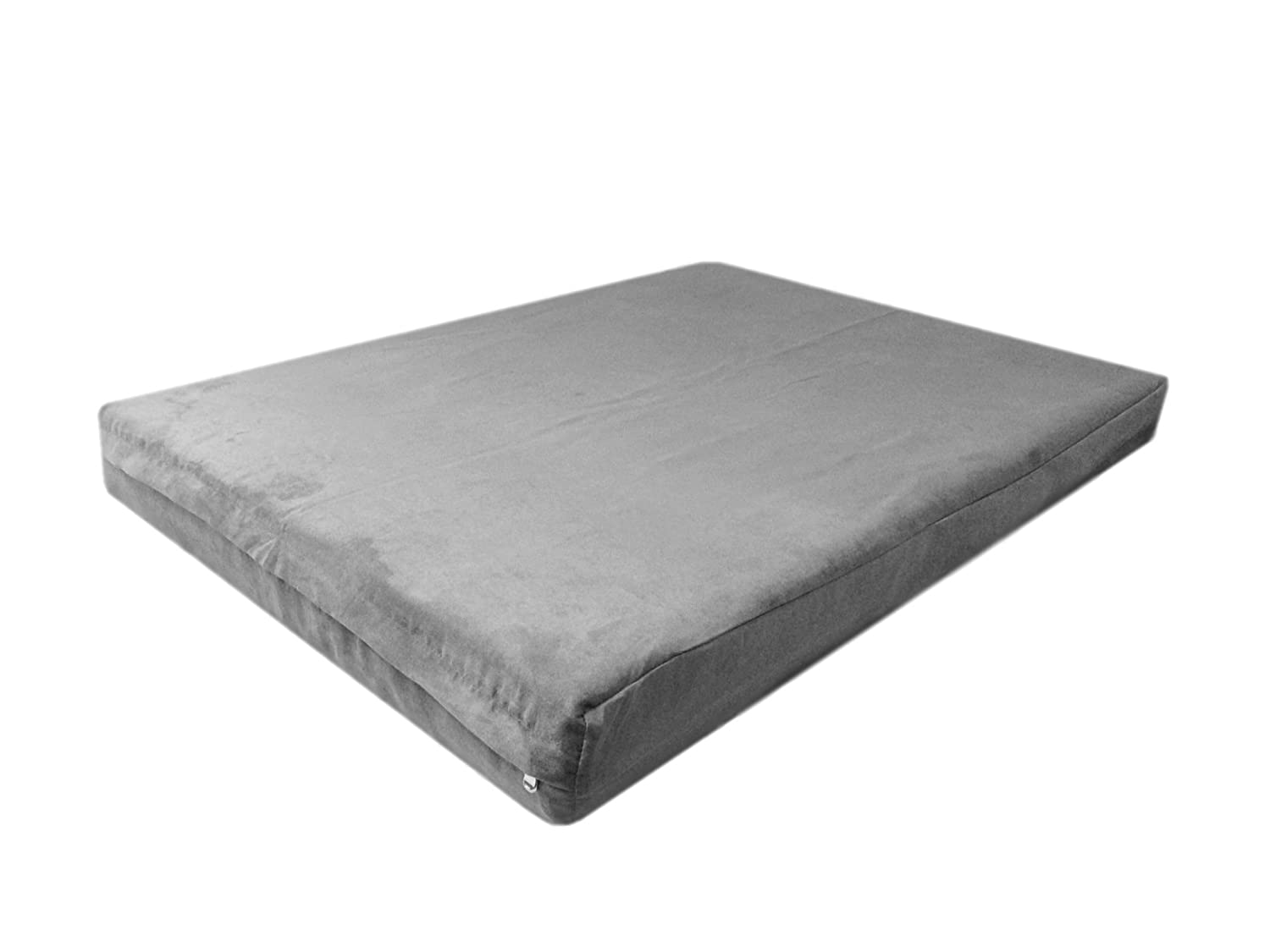 40''x35''x4'' Deluxe Top Quality Gray Color MicroSuede Fabric 100% Washable Luxury Comfort Replacement Dog Bed Zippered Duvet Gusset Case - Cover Only