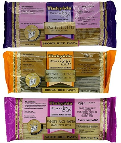 (Tinkyada Gluten-Free Rice Spaghetti 3 Flavor Variety Bundle, 1 Each: Brown Rice, Brown Rice Spinach, White Rice (12-16 Ounces) )