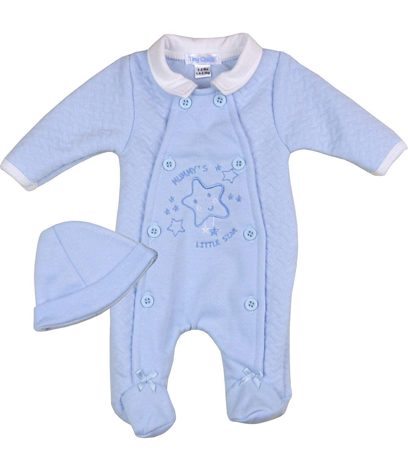 f95e3f804 BabyPrem Preemie Baby Boy's Sleeper & Hat Mummy's Little Star Blue