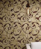 Bronze Golden Burgundy Vintage Curly Grass Velvet Flocking Wallpaper