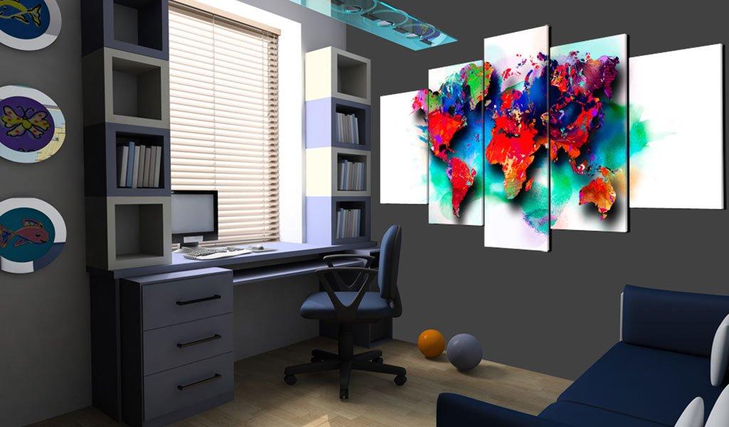 murando Quadro Mappa del Mondo 225x112 cm Stampa su Tela in TNT XXL Immagini modernoi Murale Fotografia Grafica Decorazione da Parete 5 Pezzi Astratto k-C-0093-b-m