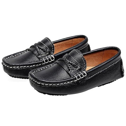 Shenn para niños Chicos Comodidad Ponerse Vestir Cuero Mocasines Zapatos: Amazon.es: Zapatos y complementos