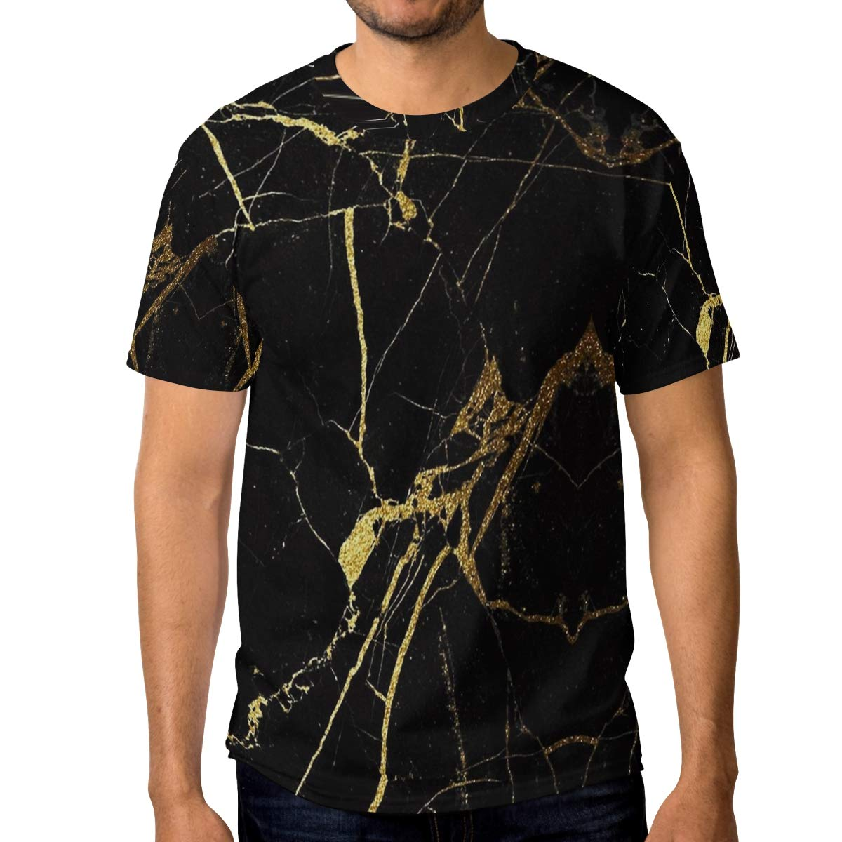 Horatiood Huberyyd Black Gold Marble Mens T Shirts Graphic Funny Body Print Short T-Shirt Unisex Pullover Blouse