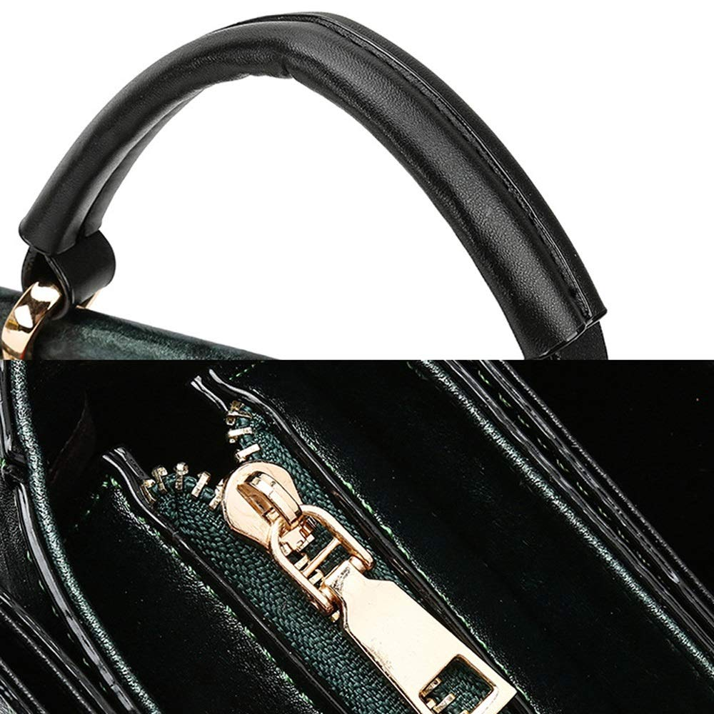 PU//Polyester 4 Colors Available Shoulder Bags Shoulder Bag Fashion Personality Vintage Embroidery Fresh Simple Simple Rivet Stud Large Capacity Womens Shoulder Bag Color : Green