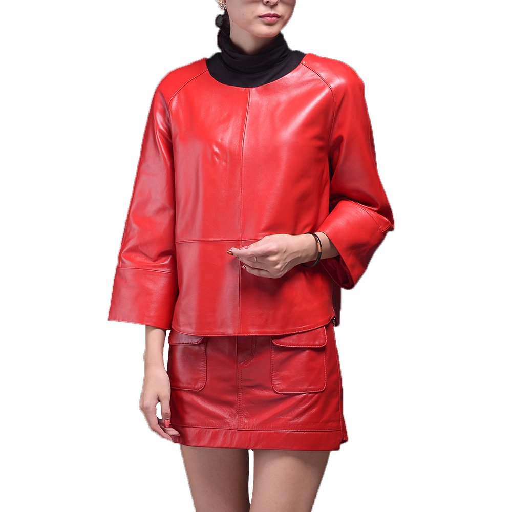 Jiashibao Women Pure Sheep Leather Suit Seven Points Sleeve Coat A-Line Short Skirt Outfits Coordinates (M, Red)