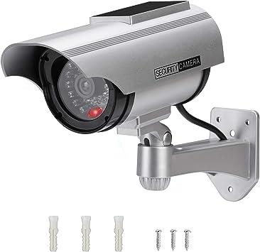 Opinión sobre Cámara Falsa Cámara de vigilancia Falsa simulada con Bala Solar Cámara Domo CCTV de Seguridad con luz LED Intermitente para Exteriores Interiores hogar Negocios (1 Paquete)