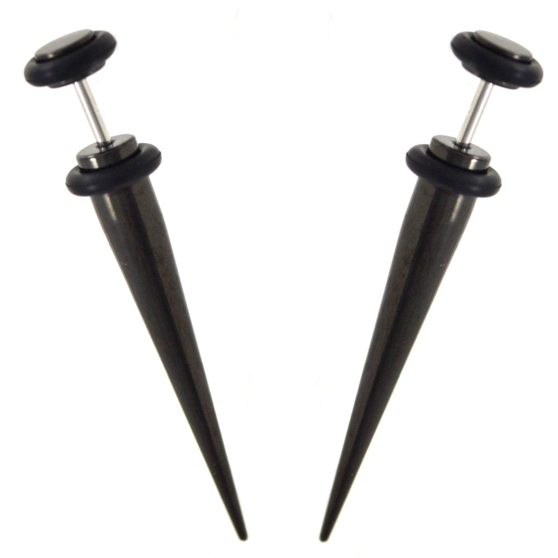 Pair (2) Black Titanium Plated Steel Fake Tapers Cheater Ear Plugs Earrings