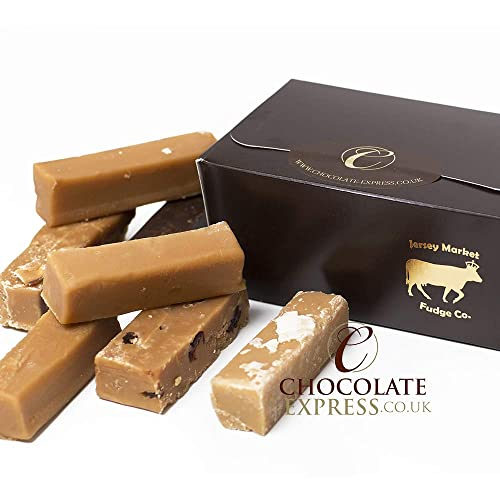 Fudge Luxury Gift Box, 10 Large Assorted Fingers: Caramel, Baileys, Vanilla, Salty Caramel, Rum & Raisin. Gluten Free Fudge.