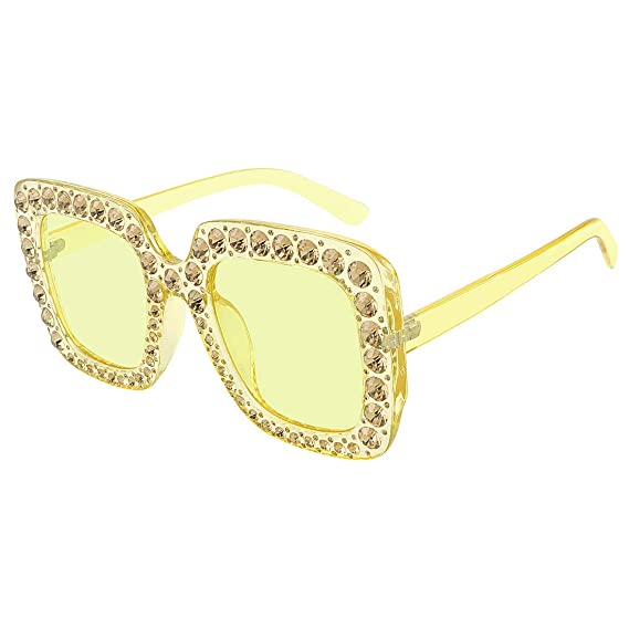 40b2fa8dfed ROYAL GIRL Sunglasses Women Oversized Square Crystal Brand Designer Shades  (Yellow-Yellow Lens 67)  Amazon.in  Clothing   Accessories