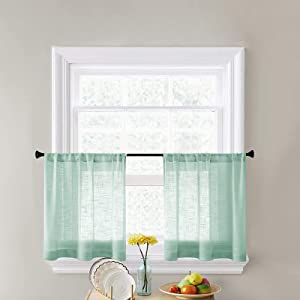 CUTEWIND Half Window Sheer Curtains for Kitchen/Bathroom 30 Inch Length Slub Open Weave Light FilteRod Pocket Voile Rod Pocket Green Short Window Treatment Drapes(2 Pieces,Green, W25×L30 Inches)