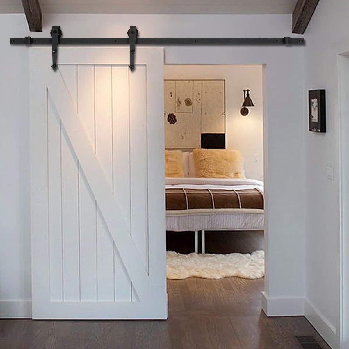 riel para puerta corredera estilo retro color negro barra de madera riel para puerta corredera Juego de herrajes para puerta corredera sistema de puerta corredera de 6 ft//183 cm