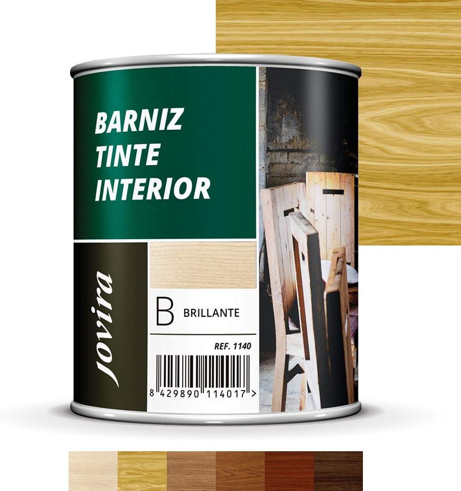 BARNIZ TINTE INTERIOR BRILLANTE, Barniz madera, Protege la madera, Decora y embellece la madera (750ML, PINO)