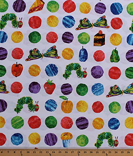 - Cotton The Very Hungry Caterpillar Polka Dots Butterflies Cake Desserts Treats Fruit Food Eric Carle Kids Cotton Fabric Print by The Yard (A-7232-X)