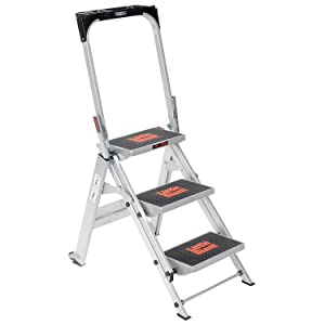 Utility Step Stool, Alum, 2-1/4Ft H, 300 Lb