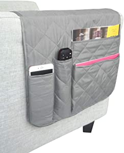 ZONK Non-Slip Armrest Organizer for Recliner Couch Sofa Chair with 4 Large Pockets, for Phone, Book, Magazines, TV Remote Control, 35x16 inches (Grey)