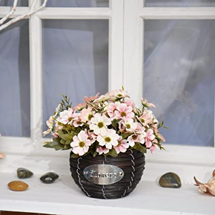 Amazon decorative artificial flowersbraided flower baskets decorative artificial flowersbraided flower basketssmall daisy pinkbridal accessories arts mightylinksfo