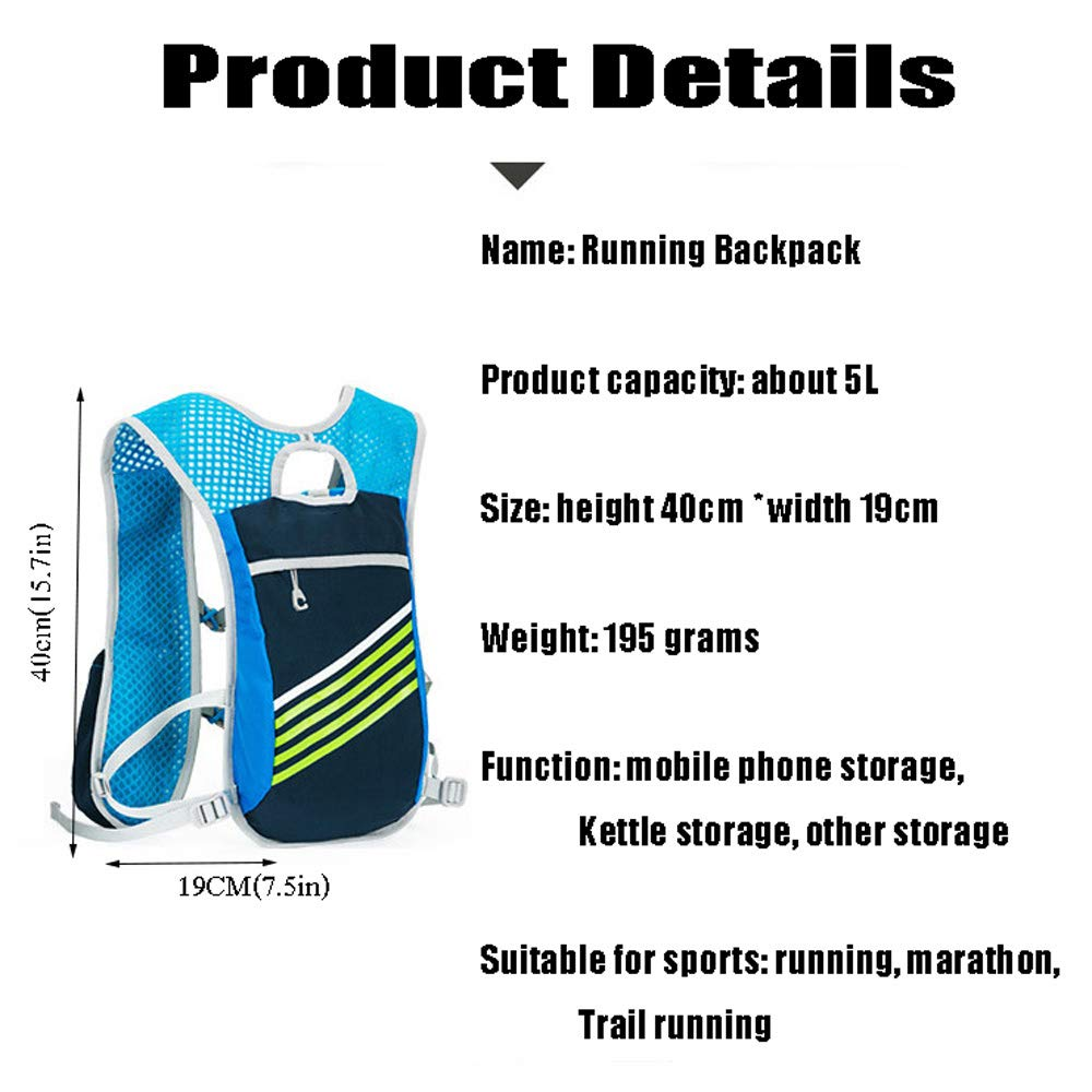TZZ Sports Water Bag Backpack 5.5L 6 Pocket Running Hiking Backpack Trail Marathon Sports Racing Lightweight Hydrating Vest by TZZ (Image #7)