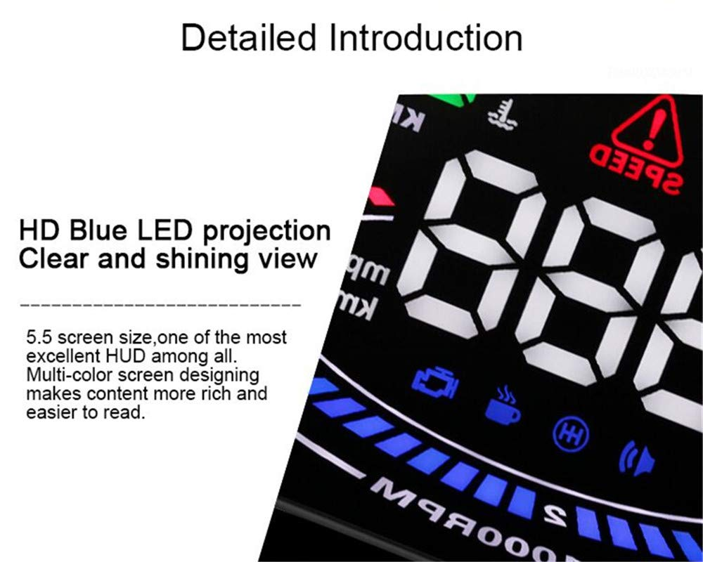 Amazon.com: CARWORD HUD OBD2 Head Up Display Car velocidad proyector OBD UE MPH KM/H Digital Coche velocimetro en el parabrisas Proyector: Home & Kitchen