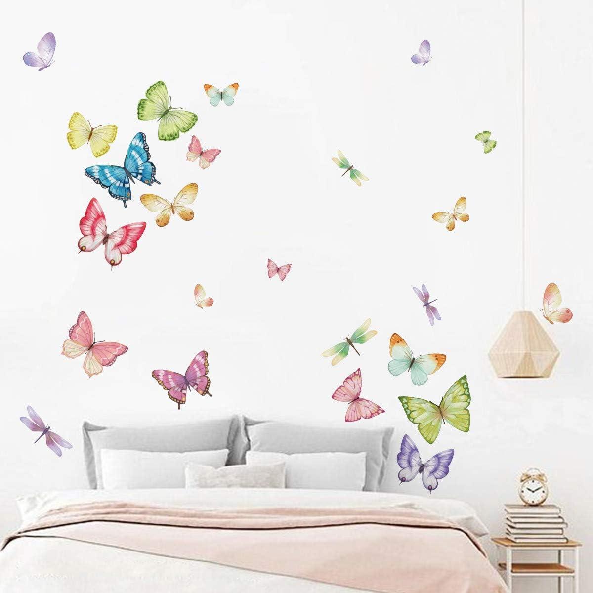 ufengke Stickers Muraux Papillons Autocollants Mural Color/é Libellule pour Chambre Enfants Fille Salon D/écoration Murale