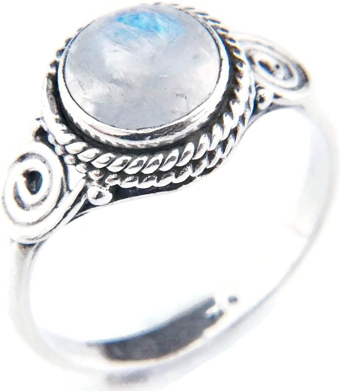 Anillo de plata de ley 925 Piedra de luna (No: MRI 21)