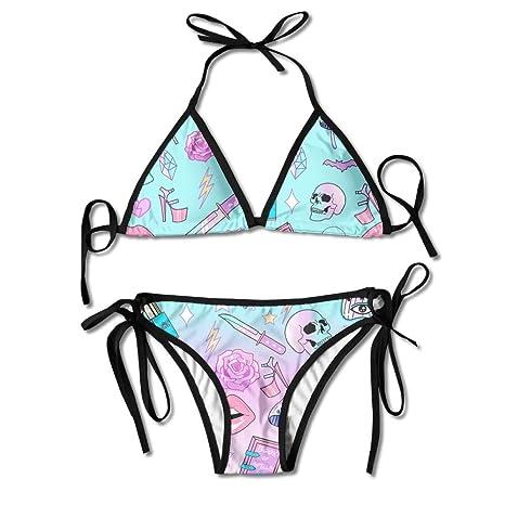 8ad40578aa0 Girly Pastel Witch Goth Pattern Womens Padded Push-up Bikini Set Sexy  Bathing Suits Two