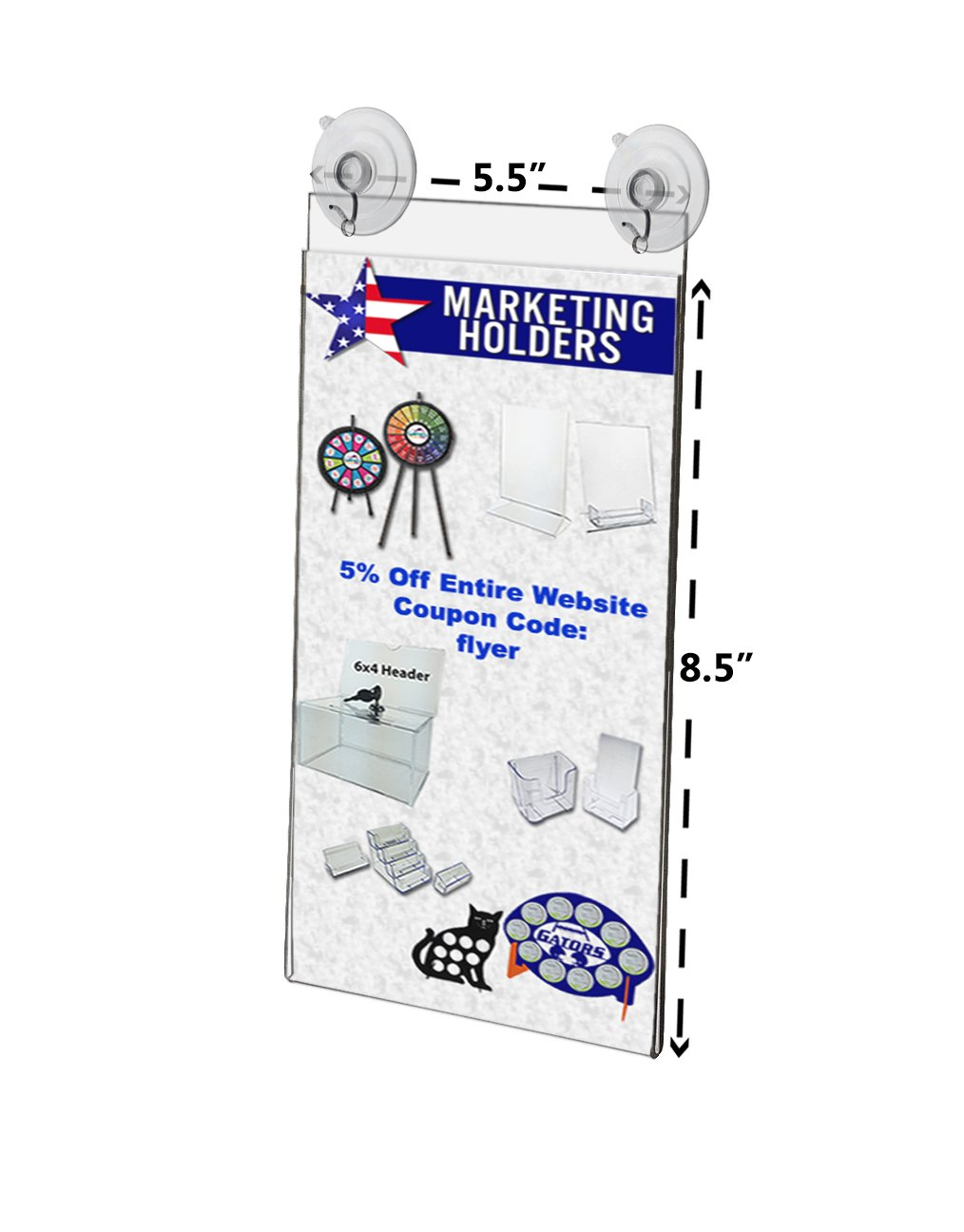 Marketing Holders Window, Glass Mount Ad Frame Sign Holder 5.5 x 8.5 Inch with 2 Suction Cups with Hooks for Business, Store, Restaurant, School (Lot of 2)