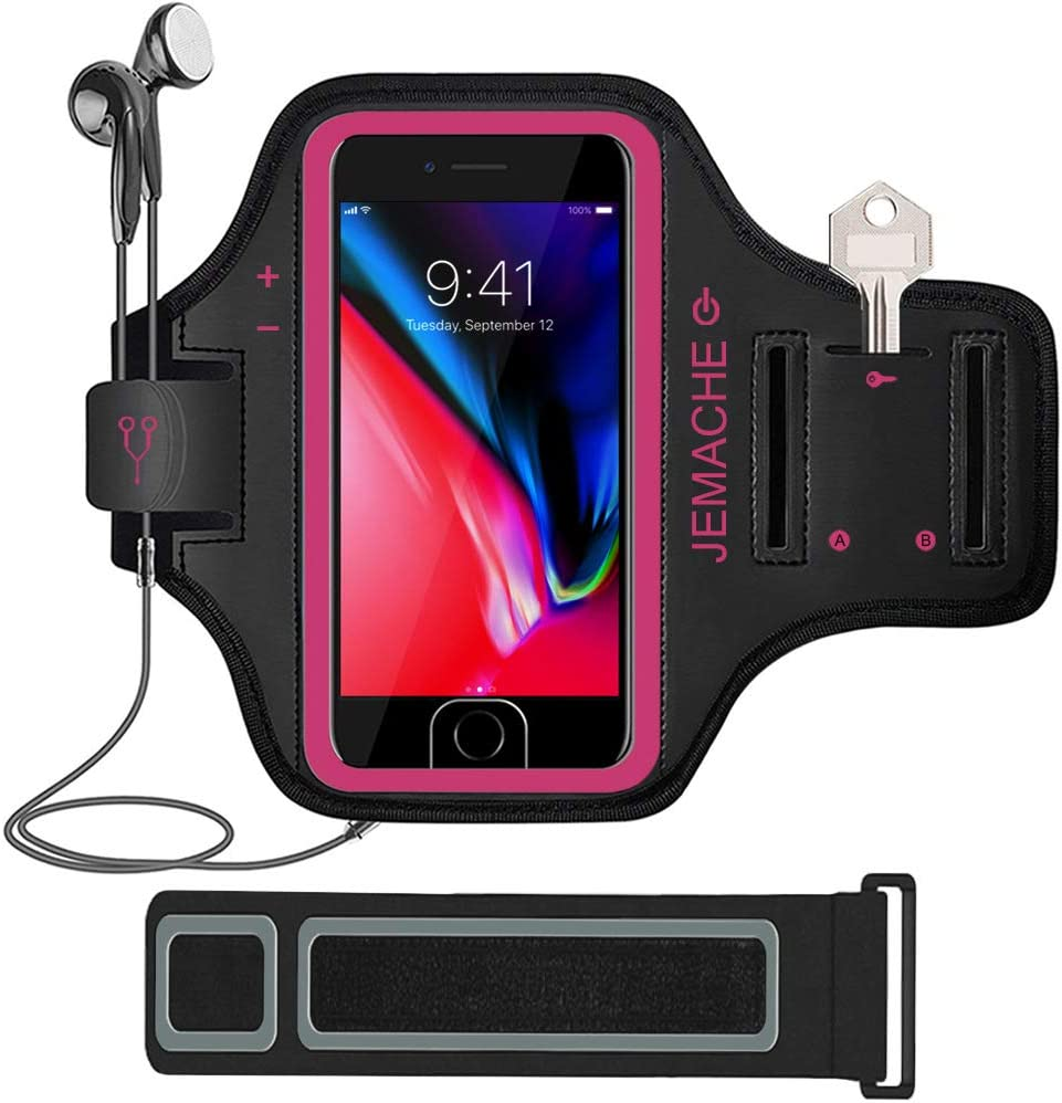 iPhone 7/8 Plus Armband, JEMACHE Gym Running Workout Exercise Pouch Phone Holder Arm Band Case for iPhone 6/6S/8/7 Plus Support Touch ID Access with Extender (Rosy)