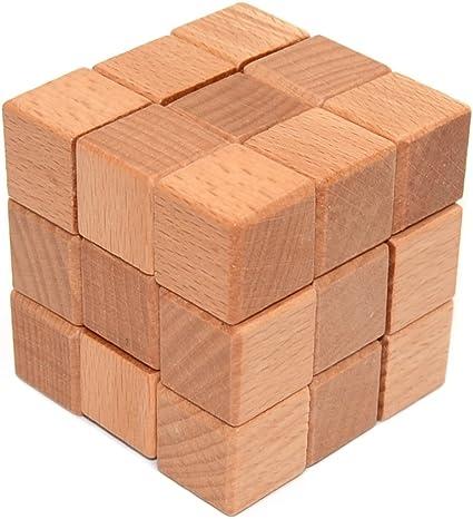 KINGOU Wooden Puzzle 3D Interlocking Cube Puzzle Brain Teaser Intellectual Assembling Toy Burr Puzzles For Adults//Kids