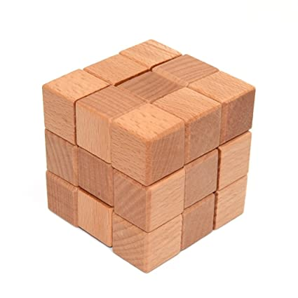 amazon com kingou wooden puzzle 3d interlocking cube puzzle brain