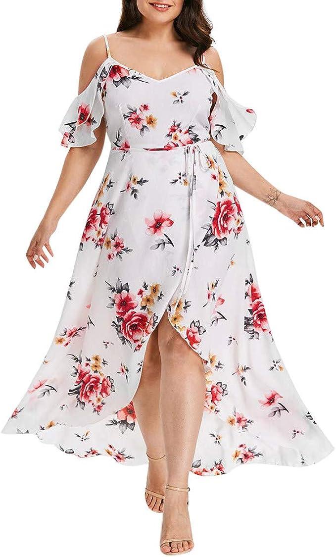 VEMOW Faldas Mujer Vestido Largo Estampado de Flores con ...