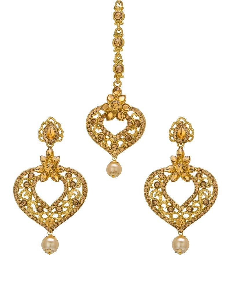 Bindhani Indian Head Bridal Wedding Jewelry Maang Tikka Jewelry Mang Tika Earrings Set