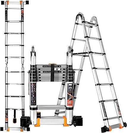ZR- Escalera Telescópica DIY De Múltiples Fines Aluminio Escalera Plegable Portátil Escalera De Extensión, Capacidad De Carga 330lbs -Fácil de almacenar y fácil de llevar: Amazon.es: Hogar